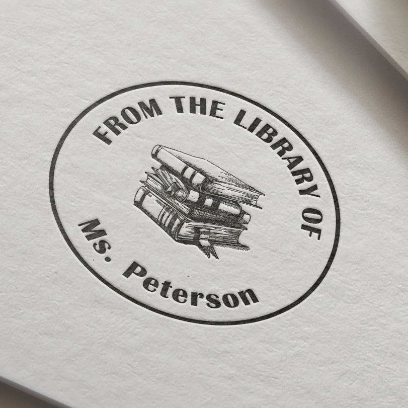 Library Stamp  Personalized Custom Name Stamp Self Inking  From The Library Of , This Book Belongs To,  Back To School- 40mm