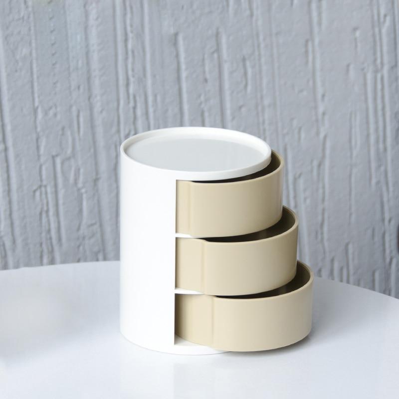 Acheter Poly mignon Trois couche cylindrique boîtes de rangement, boîtes à bijoux tiroir de bureau petits objets reçoivent un cas de Boîtes De Rangement fiable fournisseurs