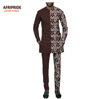 african casual suit for men AFRIPRIDE private custom full sleeve o neck top+ankle length pant slim men's autumn suit A731604