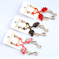 נשים אמייל פלמינגו עגילים ארוכים להתנדנד עגילי תכשיטים הסיטוניים זול סיני אביזרי תכשיטי בעלי החיים מוצרים 3 צבעים