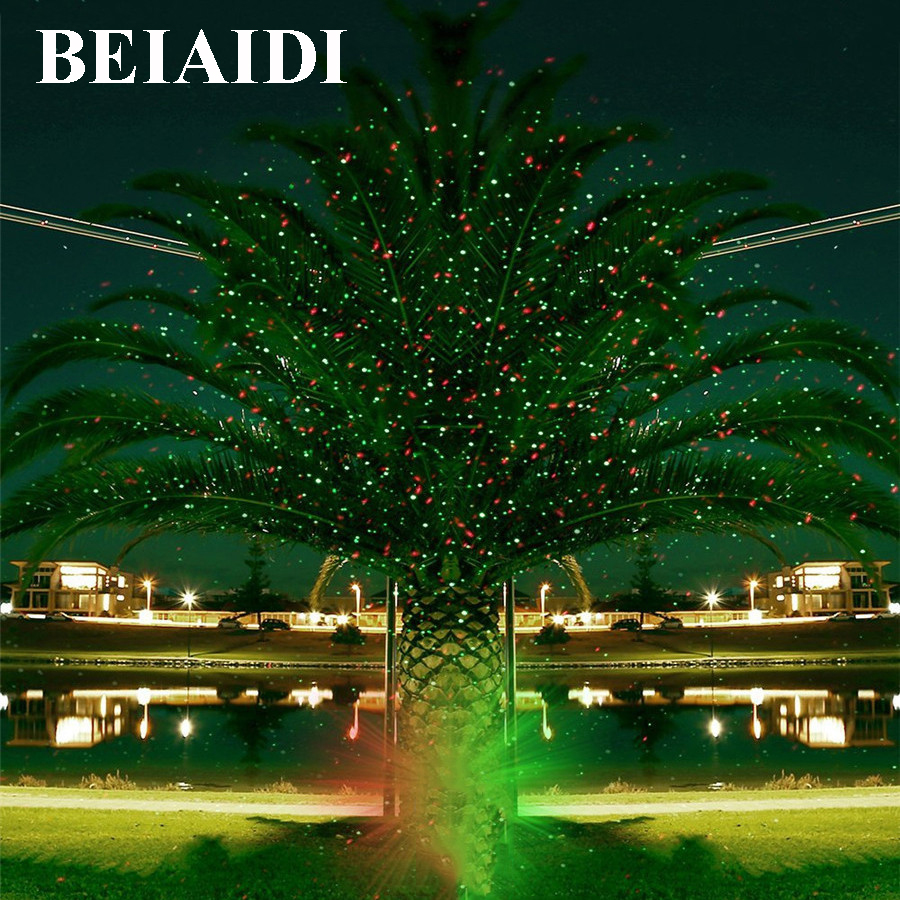 BEIAIDI Sky Star Outdoor Christmas Laser Projector Green Red Laser Spotlight Lamp Landscape Garden Christmas Stage Light outdoor waterproof green lamp red garden tree laser landscape projector with 10 feet cable christmas lights star