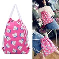 Portable Candy Women Canvas Drawstring Backpack Printing College Students School Bagpack Girls Mochila Feminina Sack Beach Bag