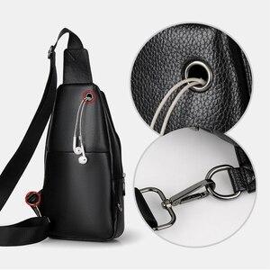 Image 5 - Neue Mode Männer Brust Tasche Messenger Taschen Leder USB lade Reisetaschen Beiläufigen männer Schulranzen Taschen Krokodil muster Crossbody tasche