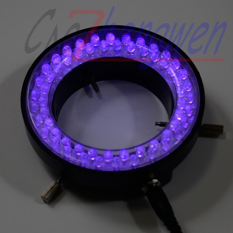 FYSCOPE Purple Color Lights - 60PCS LED Brightness Adjustable Illuminated Ring Lamp Adapter 220V or 110V for Stereo Microscope purple color 60 led illuminated ring lamps for stereo biological zoom stereo microscope with 220v or 110v adapter