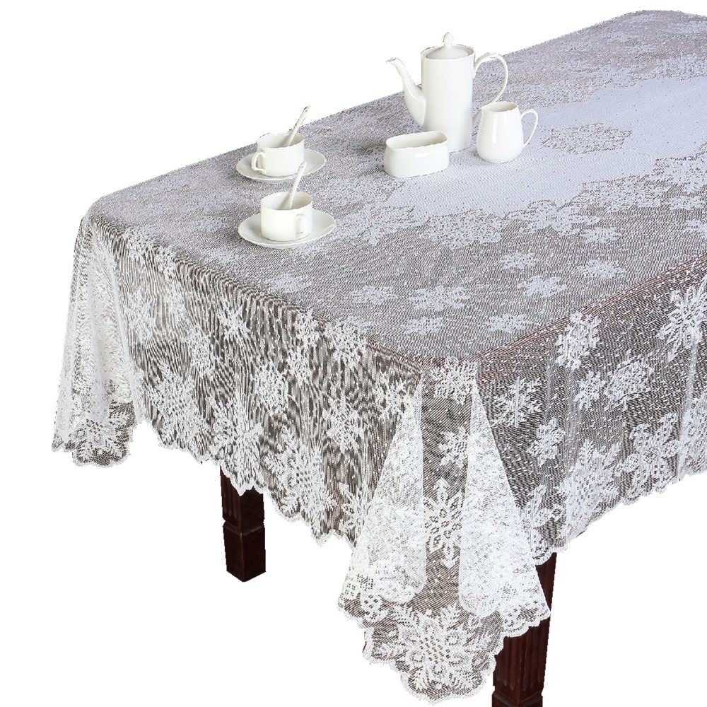 christmas ivory or white polyester snowflake lace tablecloths for