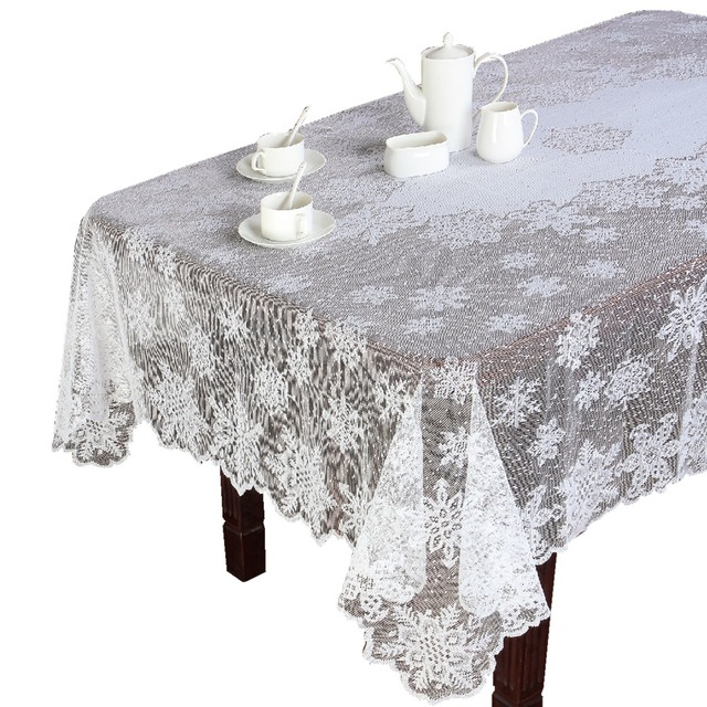 Christmas Ivory Or White Polyester Snowflake Lace Tablecloths For Table In  Wedding Party Or Holiday Round