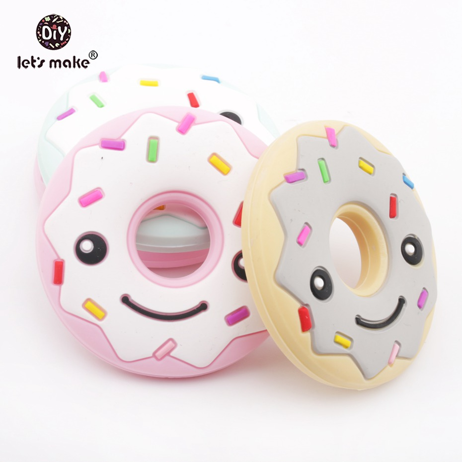 Lets make Silicone Smile Donuts 1pc BPA Free Teething Accessories Food Grade Jewelry DIY Toy Nursing Pendants Baby Teether