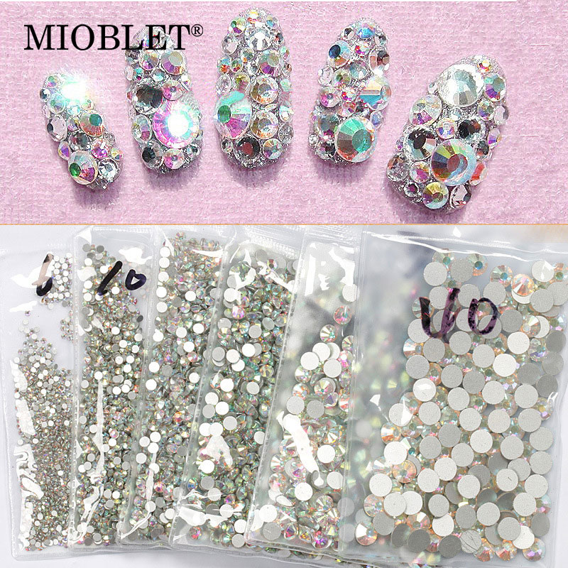 High Quality 1440PCS Glitter Rhinestones Crystal AB SS3-SS30 Non Hotfix Flatback Nail Rhinestones Strass Gem Nail Art Decoration pair of graceful rhinestone faux pearl embellished earrings for women