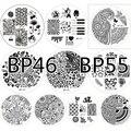 10 unids NACIDO PRETTY Conjunto BP46-55 Nail Art Sello Plantilla Estampación Placas Placas de la Imagen de La Venta CALIENTE