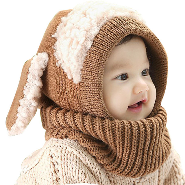 72e24030982 Baby Rabbit Ears Knitted Hat Infant Toddler Winter Cap Beanie Warm Hat  Hooded Scarf Earflap Knitted Hat
