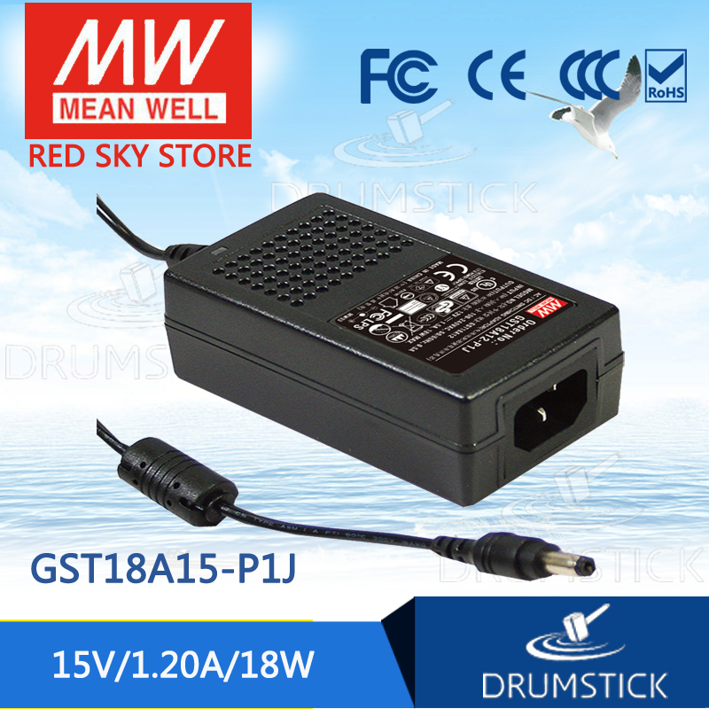 MW Mean Well GST18U15-P1J AC//DC 15V 1.2A Switching Adapter New