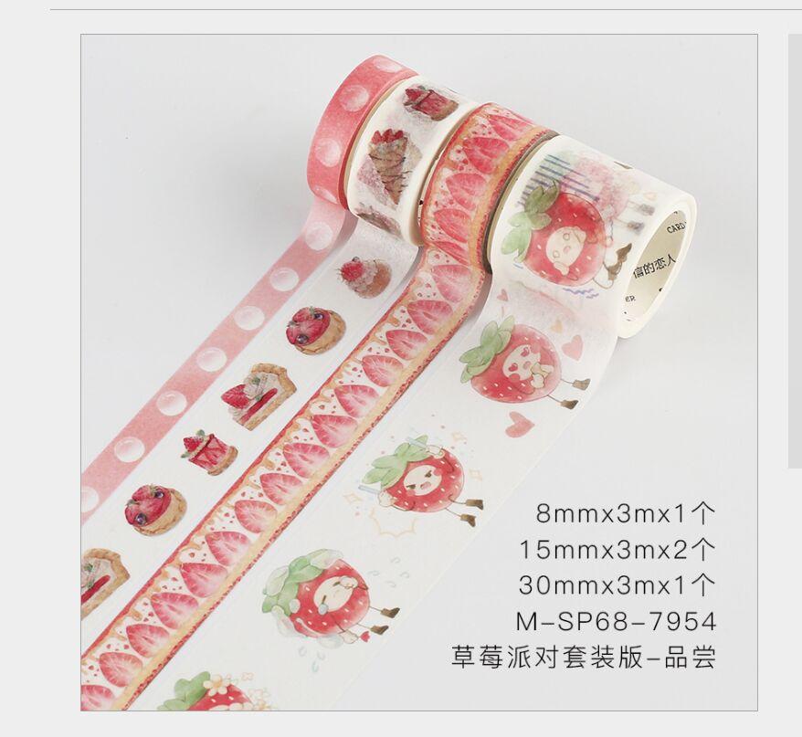4 Rolls/pack Fresh Strawberry Fruit Pink Taste Strawberry Cake Washi Tape DIY Planner Scrapbooking Masking Tape Escolar