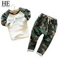 Hola Disfrutar chicos camuflaje ropa de niños 2016 otoño casual Niños Sets deporte Impresión de manga larga + pantalones de camuflaje Trajes