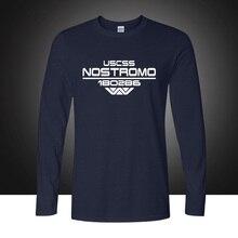 Осенняя футболка USCSS Nostromo с принтом, хлопковая Футболка Alien Weyland Yutani, Мужская футболка с длинным рукавом, топы размера плюс