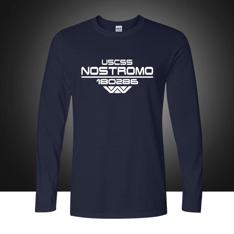 Vjeshtë USCSS Nostromo T-Shirt pambuku të shtypura Alien Weyland Yutani T-shirt Mens Longs mëngë të gjatë Tee Plus Madhësia