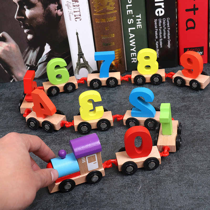 Baby Montessori Wood Digital Train Figure Model With Numbers Pattern 0~9 Car Toys Early Educational kids Wooden Toys Children
