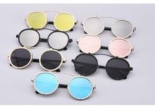 Hot Vintage Round Metal Steampunk Unisex Sunglasses