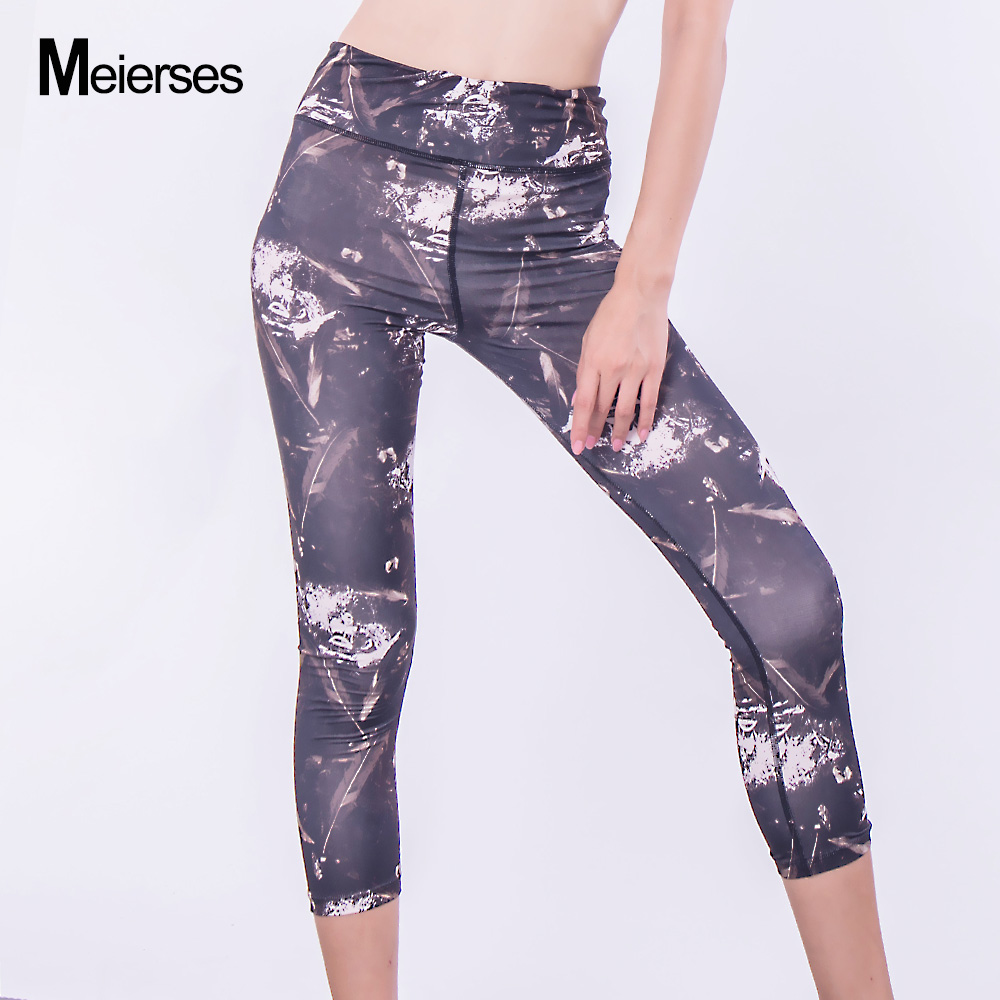 3d83fdc075138 MEIERSES Fitness Women Pants Slim Cropped Trousers Polyester Spandex Top 3 4  Length Legging Plus Size Sportswear Breathable Soft-in Yoga Pants from  Sports ...