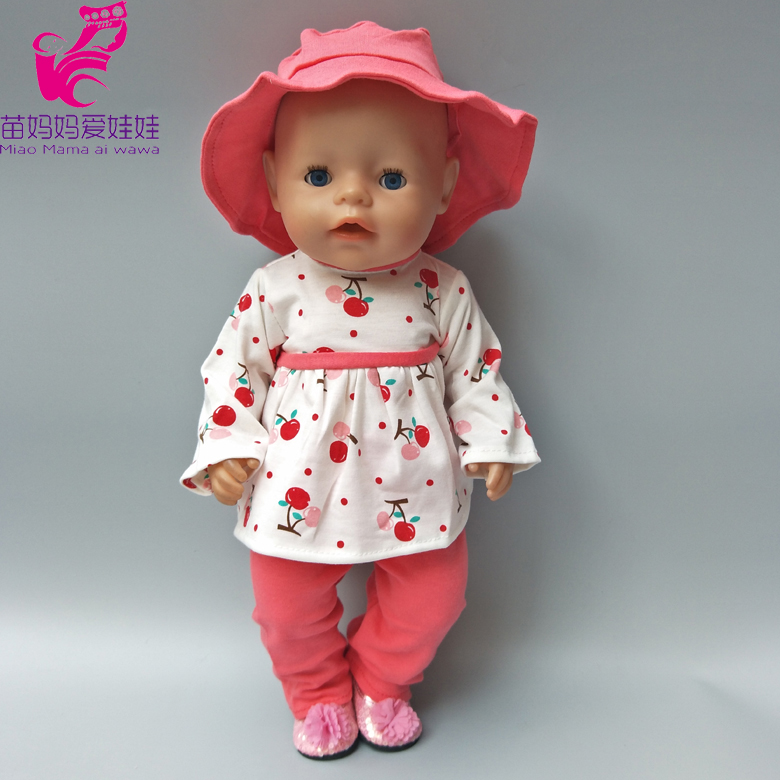 Clothes for doll fits 43cm Baby Born  doll clothes girl dress hat and pants for 18 inch baby born doll