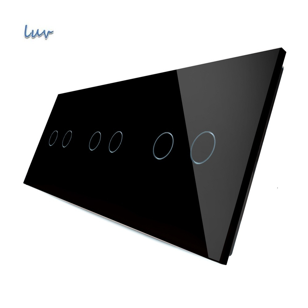 Luxury Black Crystal Glass, 223mm*80mm, EU standard, Triple Glass Panel,VL-C7-C2/C2/C2-12 for LUV Touch Switch uniq c2 ga5gar c2blk black