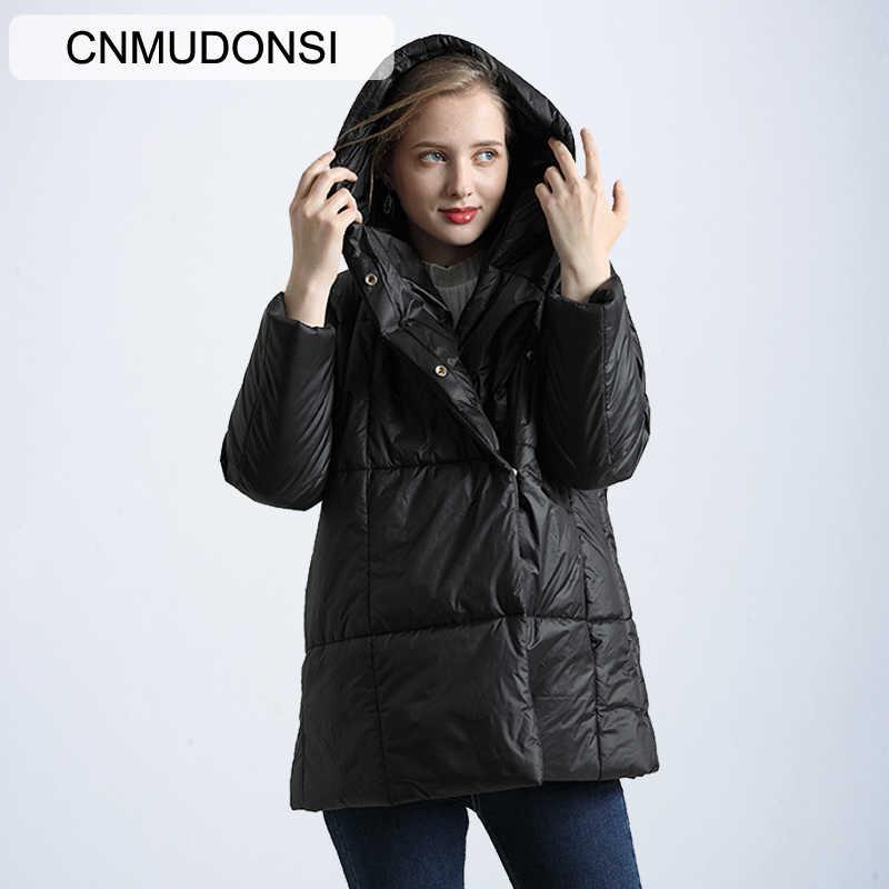 Новые модные зимние женские пальто CNMUDONSI, короткие водонепроницаемые стильные женские куртки, повседневные длинные стеганые куртки с капюшоном