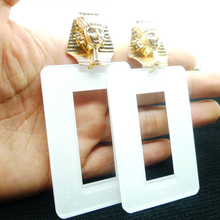Fashion Women Earrings Mysterious Ancient Egypt Punk Black White Drop For Girl Female Exaggerated Big