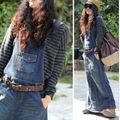 2016 spring and  summer personalized spaghetti strap denim one-piece dress casual fashion suspenders bust dress