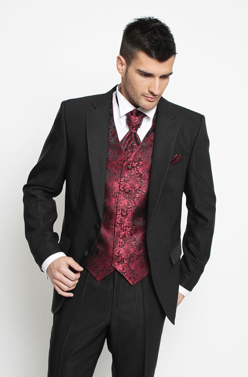 Pinstripe Notched Lapel Groom Tuxedos and Tailcoat Groomsmen Best ...