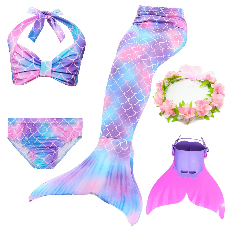 Girls Little Mermaid Tail Swimming Costumes Monofin Kids Children Bikini Bathing Swimsuit Set  For Swimmable Cosplay