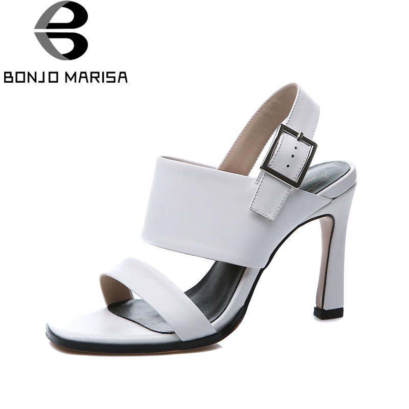 BONJOMARISA Brand Natural Cow Genuine Leather Large Size 33-43 High Heels Shoes Woman Summer Sexy Party Sandals Shoes Women цена