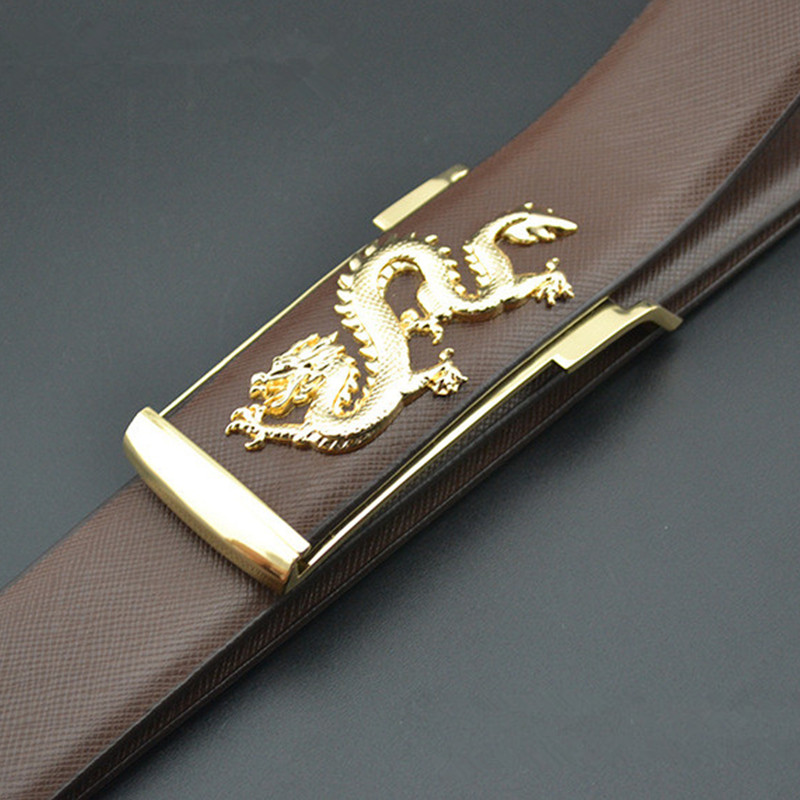 El Barco Men Casual Leather Belt Luxury Cowhide Black Brown Male Belts Blue White Yellow Coffee Dragon Gold Buckle Waist Strap Elegant And Graceful Back To Search Resultsapparel Accessories