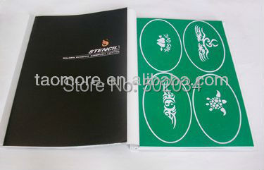 DHL freeshipping Temporary Airbrush Tattoo Stencil book1 with 100 different degins for glitter stencil kits supplies
