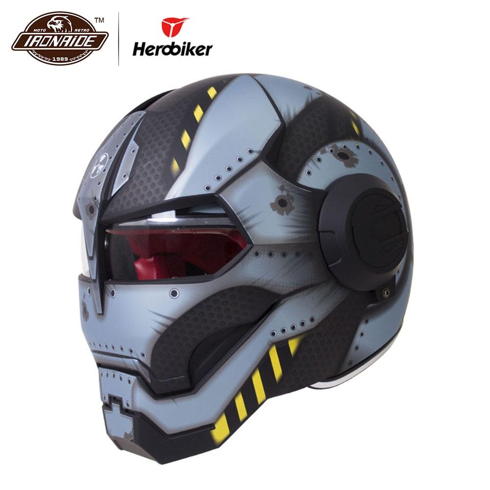 HEROBIKER Casco Moto D'epoca Retro Cruiser Chopper Cafe Racer Capacetes Moto Casco Motocross Moto Completo Viso Casco
