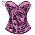 Caliente negro Floral y Skull Printed mujeres Pink Corset Bustier Tops Sexy trajes burlescos Corpetes E Espartilhos Corselet gótico
