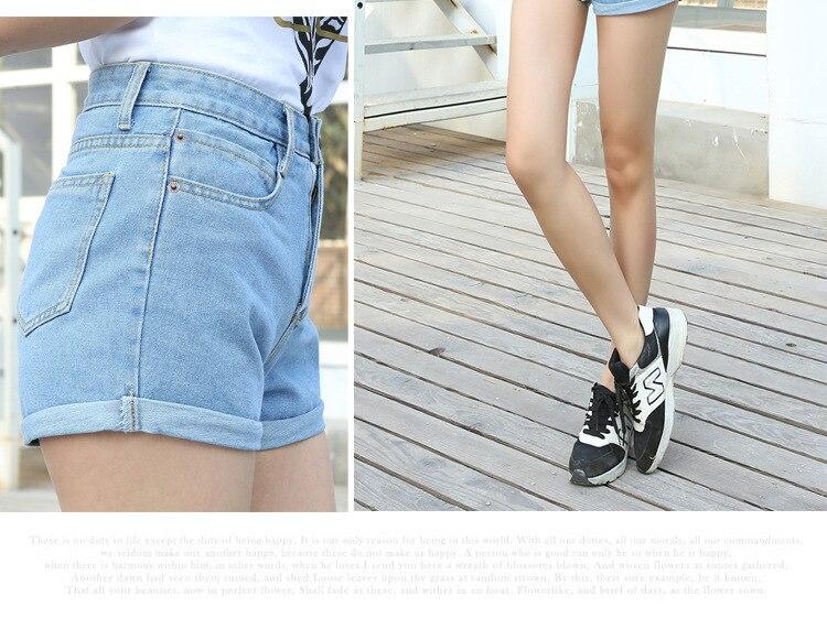 Blue Crimping Denim Jeans Shorts For Women 51