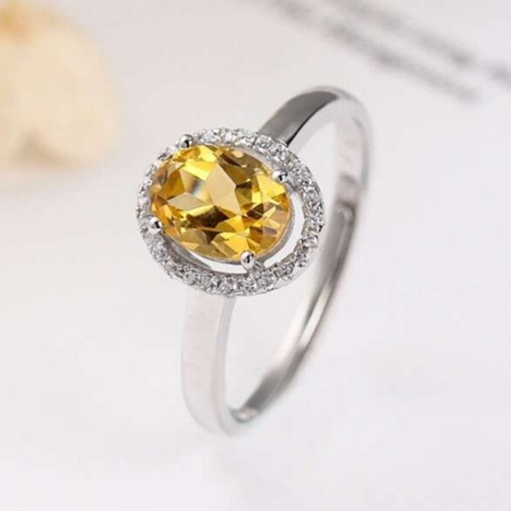 hot sale classic engagement ring 925 sterling silver natural citrine yellow crystal for women
