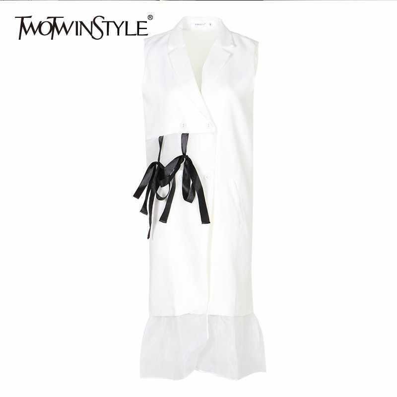 Женское платье с завязками TWOTWINSTYLE, белое сетчатое платье составного кроя без рукавов, с отложным воротником и открытыми плечами, длиной до колен, лето 2019