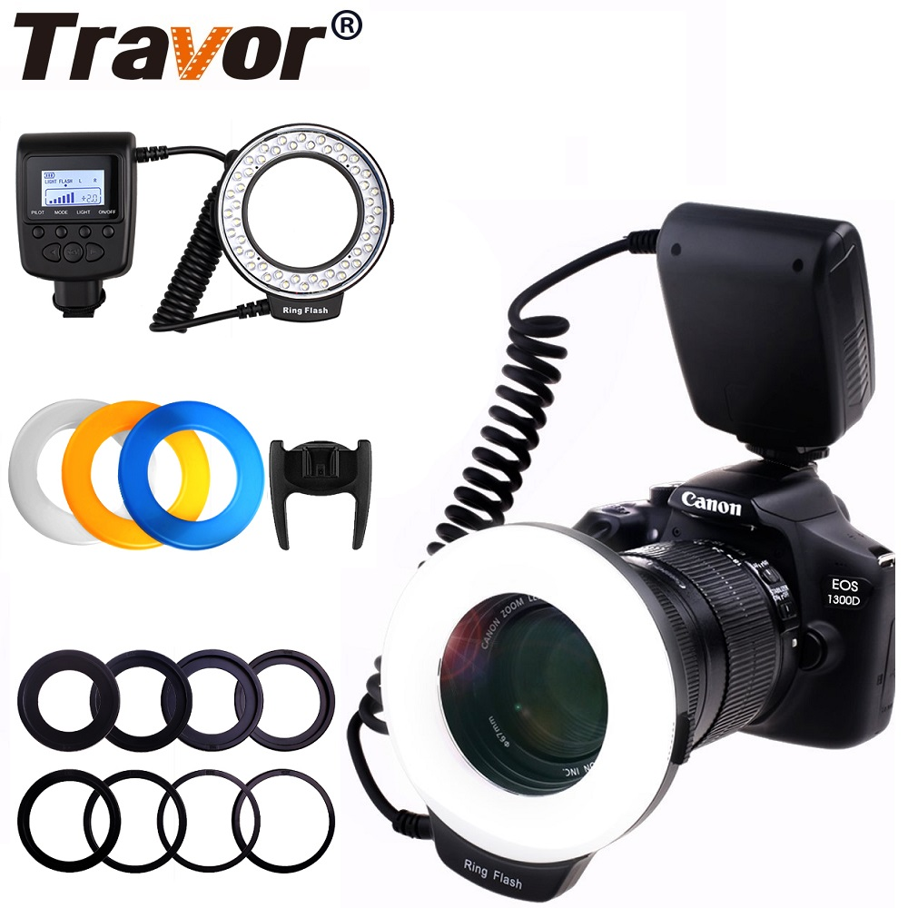 Travor 48PCS LED Macro Ring Flash Light RF-550D Speedlight For Nikon Canon Olympus Pentax With 8 Adapter Ring/4 Flash Diffuser universal soft screen pop up flash diffuser for nikon canon pentax olympus camera soft diffuser plastic diffuser softer 10d 20d