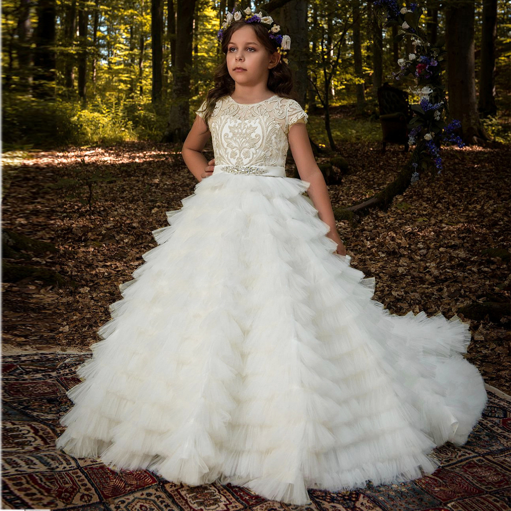New Arrival Flower Girls Dresses High Quality Lace Appliques Beading Short Sleeve Ball Gowns Custom Holy