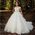 Новое поступление, Платья с цветочным узором для девочек, высокое качество, кружевные аппликации, короткие рукава, с бисером, бальные платья...