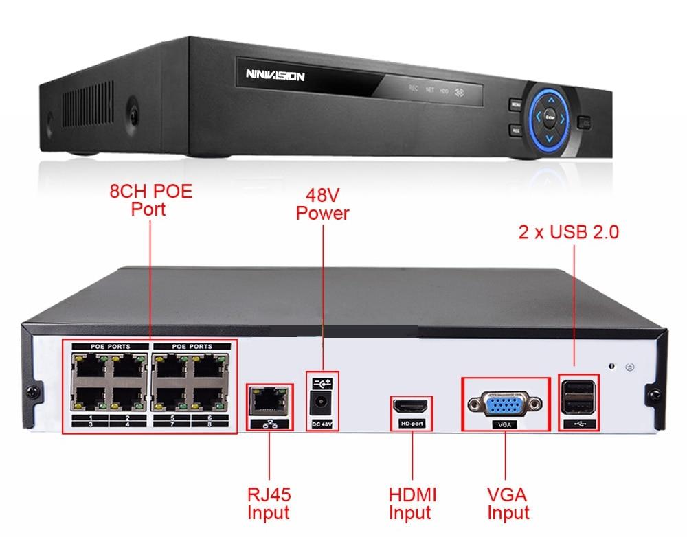 8CH CCTV NVR System POE NVR 1080P Video Output 8PCS 2.0mp 1920x1080p Weatherproof CCTV POE IP Camera Security System phone view