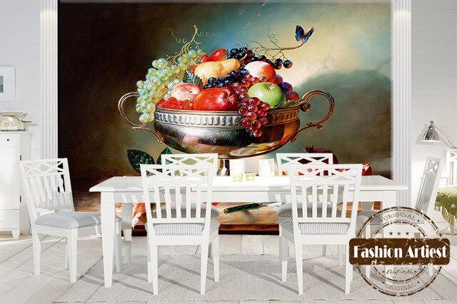 Personalizzato 3d Frutta Piatto Dargento Wallpaper Murale Rosa