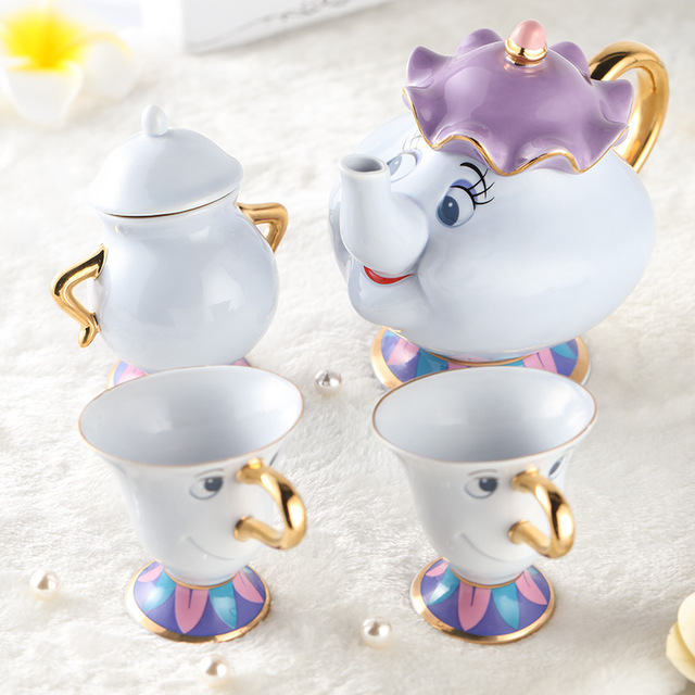 Beauty and the beast ceramic gold-plated Mrs Potts Chip teapot Cup Coffee Set Lovely Porcelain Gift [1 Pot +1 Cup+1 Sugar Bowl]
