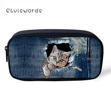 ELVISWORDS Pencil Bag Case Canvas Kawaii 3D Cowboy Cat Printed Pouches Student Stationery Cute School Supplies
