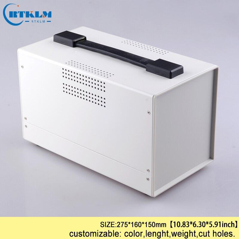 Fer logement bricolage boîte de distribution électrique avec poignée de fer commutateur porte-serviettes en papier pcb amplificateur panneau boîtier 275*160*150mm