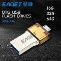 Eaget V80 USB 3.0 Flash Drive 16 G 32 G 64 G Smartphone Pen Drive Micro USB otg USB stick de memoria portátil enchufe doble Pendrive