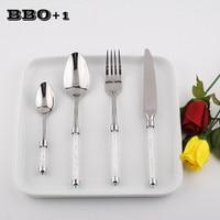 4pcs Luxury Dinnerware Set Silver Wedding Dinner set Stainless steel Kitchen Cutlery Acrylic Crystal Dinner Knife Forks Teaspoon