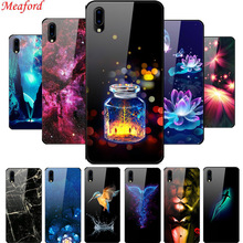 Luxury Glass Case For Vivo Y91C Y91i Cool Print Hard Back Cover TPU Frame Coque Y93 Funda
