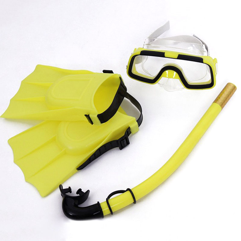 Children Diving Mask Set Anti-Fog Swimming Goggle Masks Snorkel Fins Kit for Kids Boys Girls BHD2