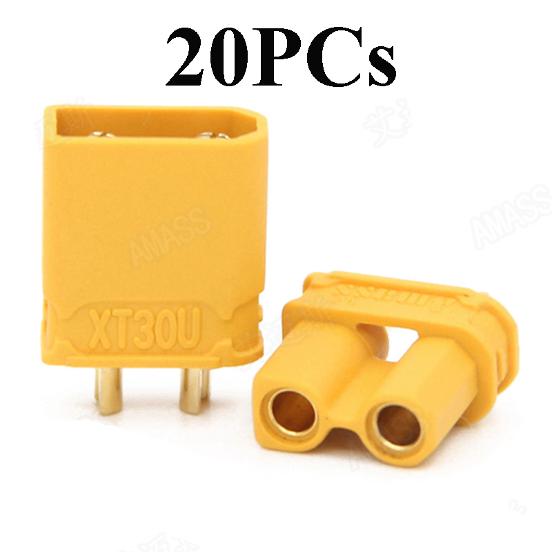 20pcs Original Amass Xt30u Bullet Connector Plug The Upgrade Xt30 Male/female Xt30-u Plug For Rc Fpv Lipo Battery Quadcopter